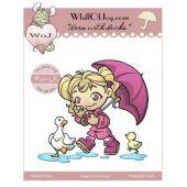 Nora mit Enten und Regenschirm
