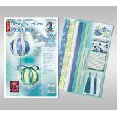 Designstreifen Paper Balls Set White Christmas