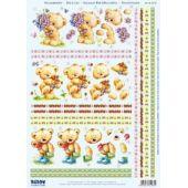 Stanzbogen Bärchen mit Blumen, Erdbeeren