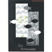 Handgearbeitete B6 Einladungskarte Dunkelblau mit Fischen im Mosaikstil