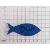 """Fisch 80mm mit """"Danke"""" graviert und 2 Einschnitte, Filz"""