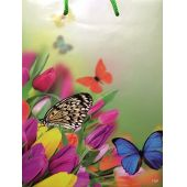Geschenktüte 60490 Tulpe 23x17,5x8cm Schmetterling glänzend
