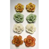 2er Set Keramik  Rosen Blüte Deko 4 Farben