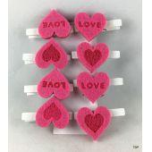 LOVE Herz mit Holzklammer 8er Set Geschenkanhänger Klammern