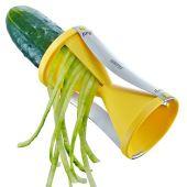 Spirelli gelb Julienne Gemüsestreifen Schneider Messer Gemüseschneider Spiralschneider