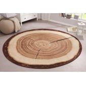Teppich Baumstamm rund 133cm Velours Design Teppich Küchenteppich Wohnzimmerteppich Designer-Teppich