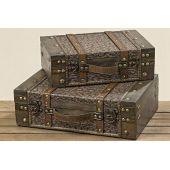 Truhe Tamika 2-er Set Aufbewahrungsbox Holztruhe Antik-Optik Aufbewahrungskiste Holzschatulle Box