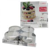 Dessertringe 10 cm im 4er Set mit Ausdrückhilfe Servierringe Vorspeisenringe Edelstahl Ringe Dessert
