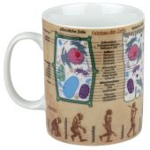 Becher Wissensbecher gro Biologie Kaffeetasse Tasse Kaffee Teetasse Porzellan Pott Henkelbecher bunt