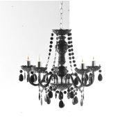 Feudaler Kronleuchter schwarz, 5-armig Feudal Deckenlampe Lüster Deckenleuchte Lampe Hängelampe