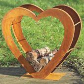 Holzaufbewahrung Tobias Rost-Optik Gartendeko Herzform Kaminholzregal Holzstapelhilfe Holzständer