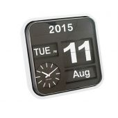 Kalenderuhr Big Flip Kalender Uhr analog Fallblattanzeige groß schwarz weiß Retro Tischuhr