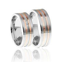 925 Silber Ringpaar mit Glanzrillen silbern oder Teil-Vergoldung