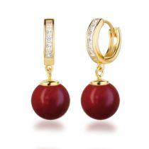 Neu: Creolen vergoldet 925 Silber Perlen Ohrringe Zirkonia Farbwahl