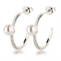 Neu: Schmale Halb-Creolen Ohrringe 925 Silber mit Perle