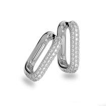 Neu: Creolen eckig mit Steinen schwarz oder weiß 925 Silber