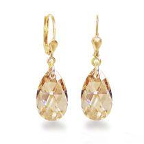 Vergoldete Ohrringe mit kleinen Swarovski® Kristall Tropfen 16mm, Ohrhänger Gold Doublé