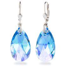 Ohrhänger mit Swarovski® Kristall Tropfen 22mm groß, 925 Silber rhodiniert, verschiedene Farben