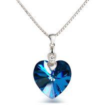 Neu: Kette Herzanhänger 925 Silber mit Swarovski® Kristall 18mm Herz, Farbwahl