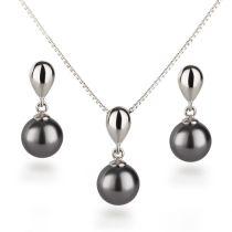 Schmuckset Perlen Ohrringe und Halskette mit Anhänger, Perlenschmuck, 925 Silber rhodiniert