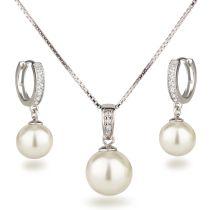 Neu: Schmuckset Halskette Ohrringe mit Perlen 925 Silber Rhodium