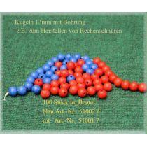 Holzkugeln 13mm mit Bohrung, rot, 100 Stück