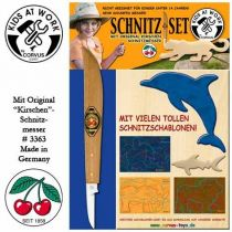 KIDS AT WORK Schnitzset Messer + Holz