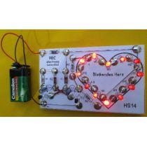 REC electronic Blinkendes LED Herz Bausatz auf Holzbrettchen