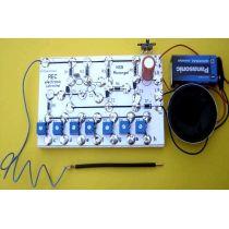 REC electronic Miniorgel Bausatz mit Lautsprecher auf Holzbrett