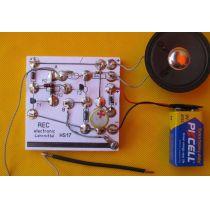 REC electronic Bleistiftstrich-Miniorgel Bausatz mit Lautsprecher auf Holzbrett