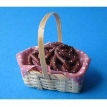 Korb mit Brezel Küchen Puppenhausdekoration Miniatur 1:12