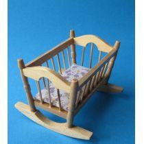 Puppenwiege natur Puppenhausmöbel Kinderzimmer Miniatur 1:12