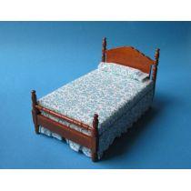 Grosses Puppenbett Schlafzimmer braun Puppenhausmöbel 1:12