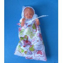 Baby Puppe im Schlafsack 6 cm  Puppenstube Miniaturen Schwenk