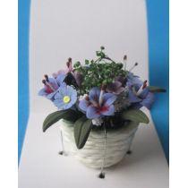 Bunte Frühlingsblumen im Topf Puppenhaus Dekoration Miniatur 1:12