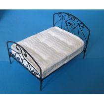 Doppelbett Metall schwarz Puppenhausmöbel  Miniaturen 1:12
