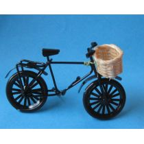 Fahrrad mit Korb Metall schwarz Puppenhaus Miniaturen 1:12