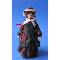 Frau in historischer Winterkleidung Puppenhaus Miniaturen 1:12