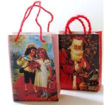 Zwei Geschenktüten Weihnachtspäckchen Puppenhaus Miniatur 1:12