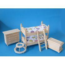 Kinderzimmer Naturholz 4 Teile Doppelstockbett Puppenhausmöbel Miniaturen 1:12