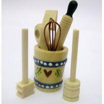 Holzfass mit Küchenutensilien 7 Teile Puppenhausdekoration Miniaturen 1:12