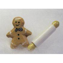 Lebkuchenmann mit Teigrolle Weihnachten Puppenhaus Dekoration Miniatur 1:12