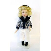 Mädchen im Matrosen Anzug mit Hut  Puppe  Miniatur 1:12