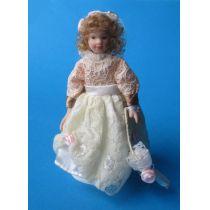 Mädchen Blumenkind mit Schirm Puppe für Puppenhaus Miniatur 1:12