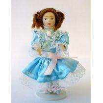 Mädchen Helena im türkisfarbenen Kleid Puppe für Puppenhaus Miniatur 1:12