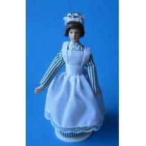 Bedienung Magd im grün gestreift Kleid Puppe für die Puppenstube Miniaturen 1:12