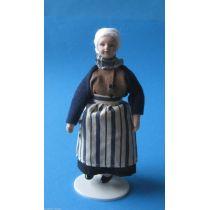 Puppe Grossmutter Oma mit Schürze für  Puppenstube Miniatur 1:12