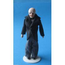 Puppe Grossvater Opa im Anzug für die Puppenstube Miniatur 1:12