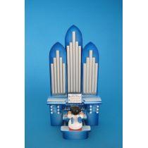 Weihnachtsengel an der Orgel blaue Flügel Seiffen