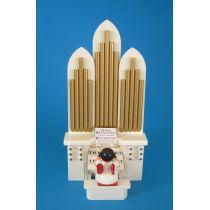 Weihnachtsengel an der Orgel rote Flügel Seiffen